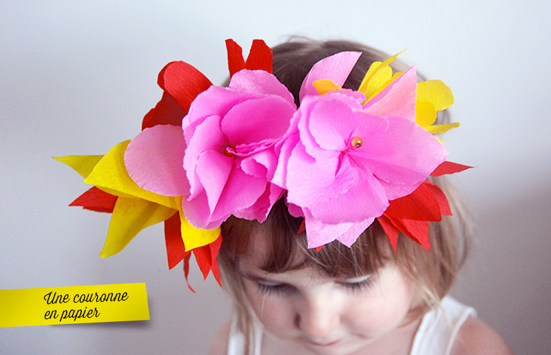 Diy crepe paper childrens flower crown