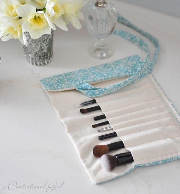 Diy fabric makeup brush holder