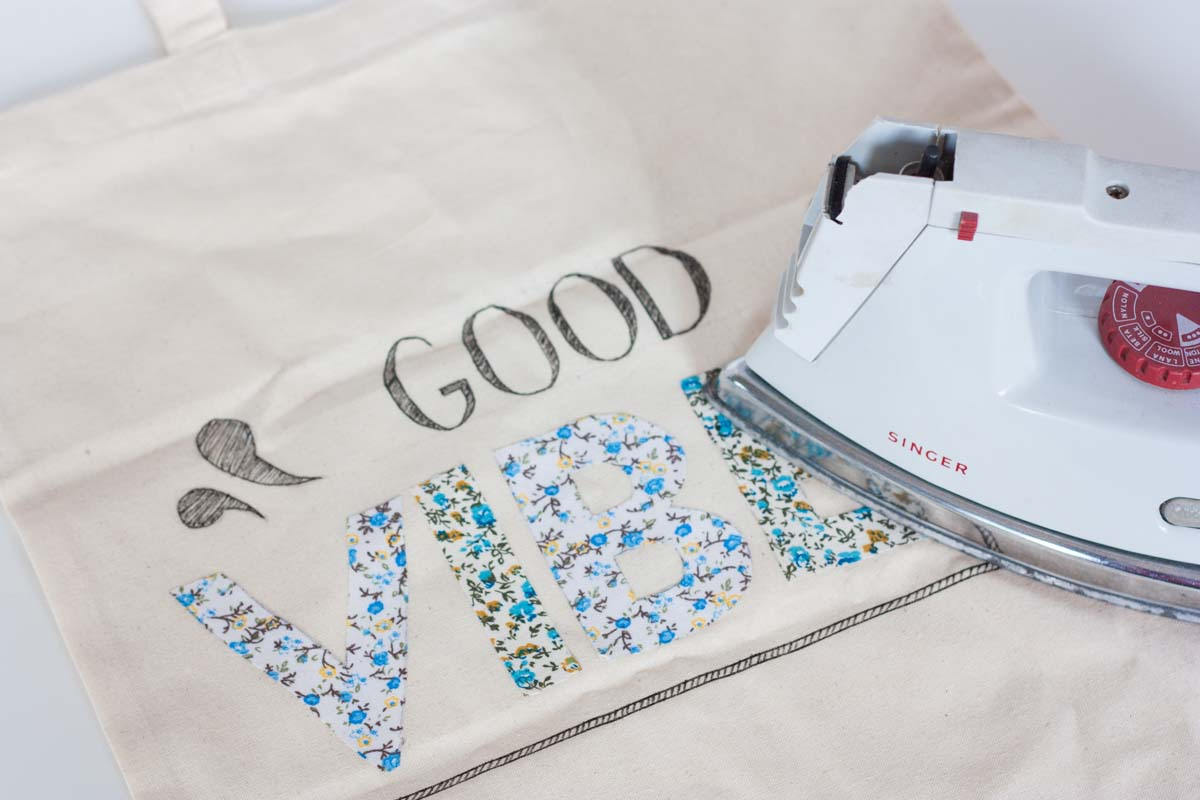 Diy floral quote tote bag iron