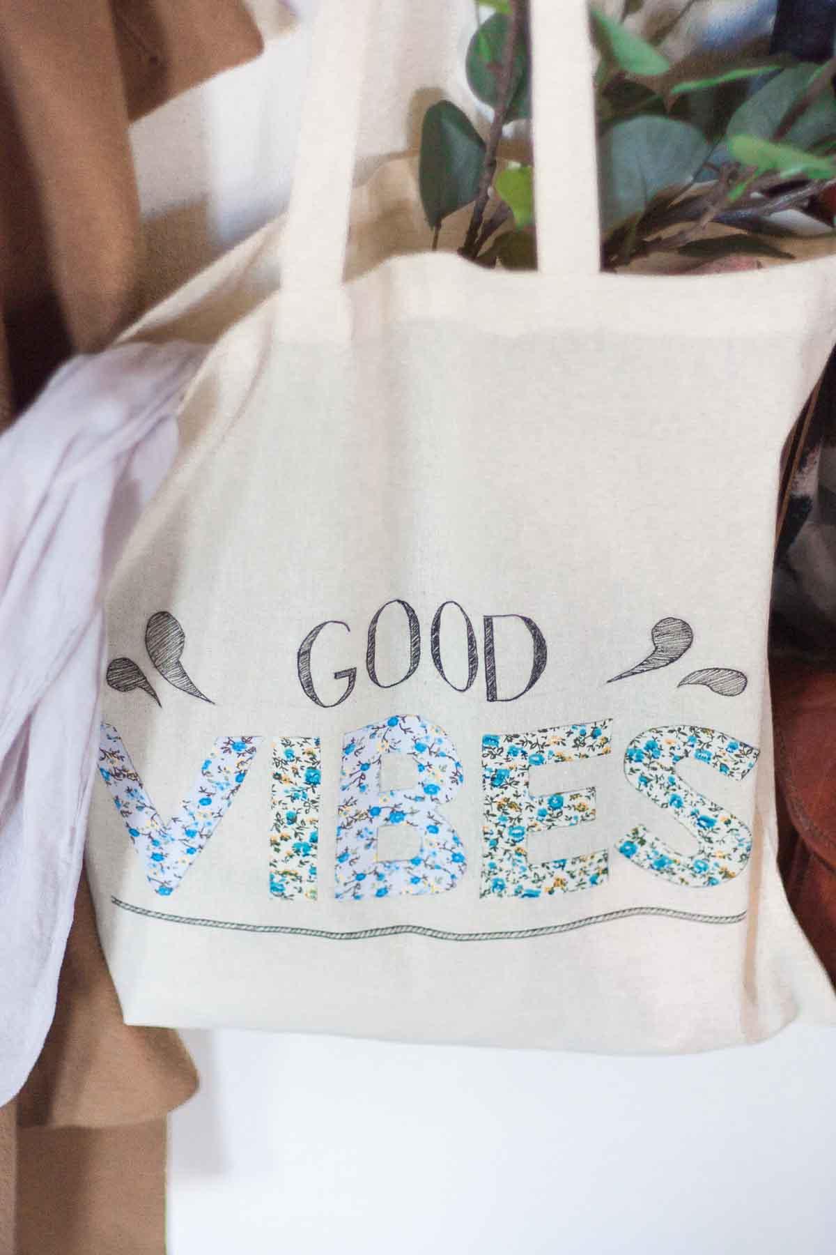 Diy floral quote tote bag set2