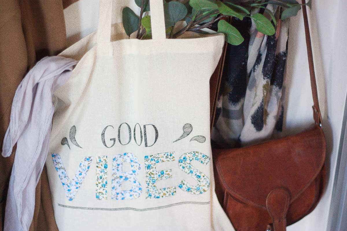 Diy floral quote tote bag set4