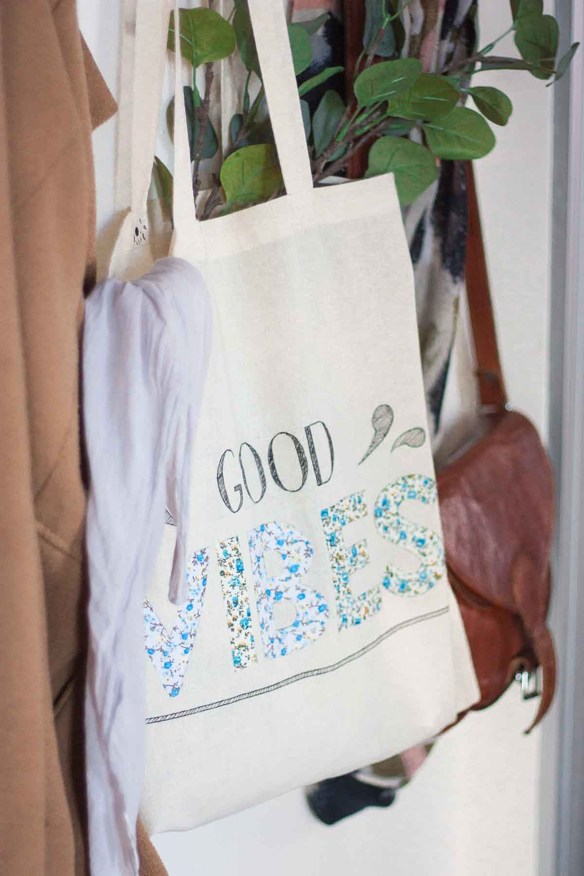 Diy floral quote tote bag set5