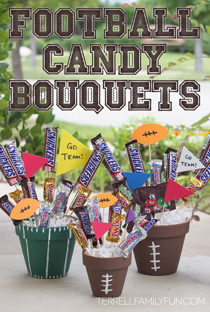 Diy football candy bouquets