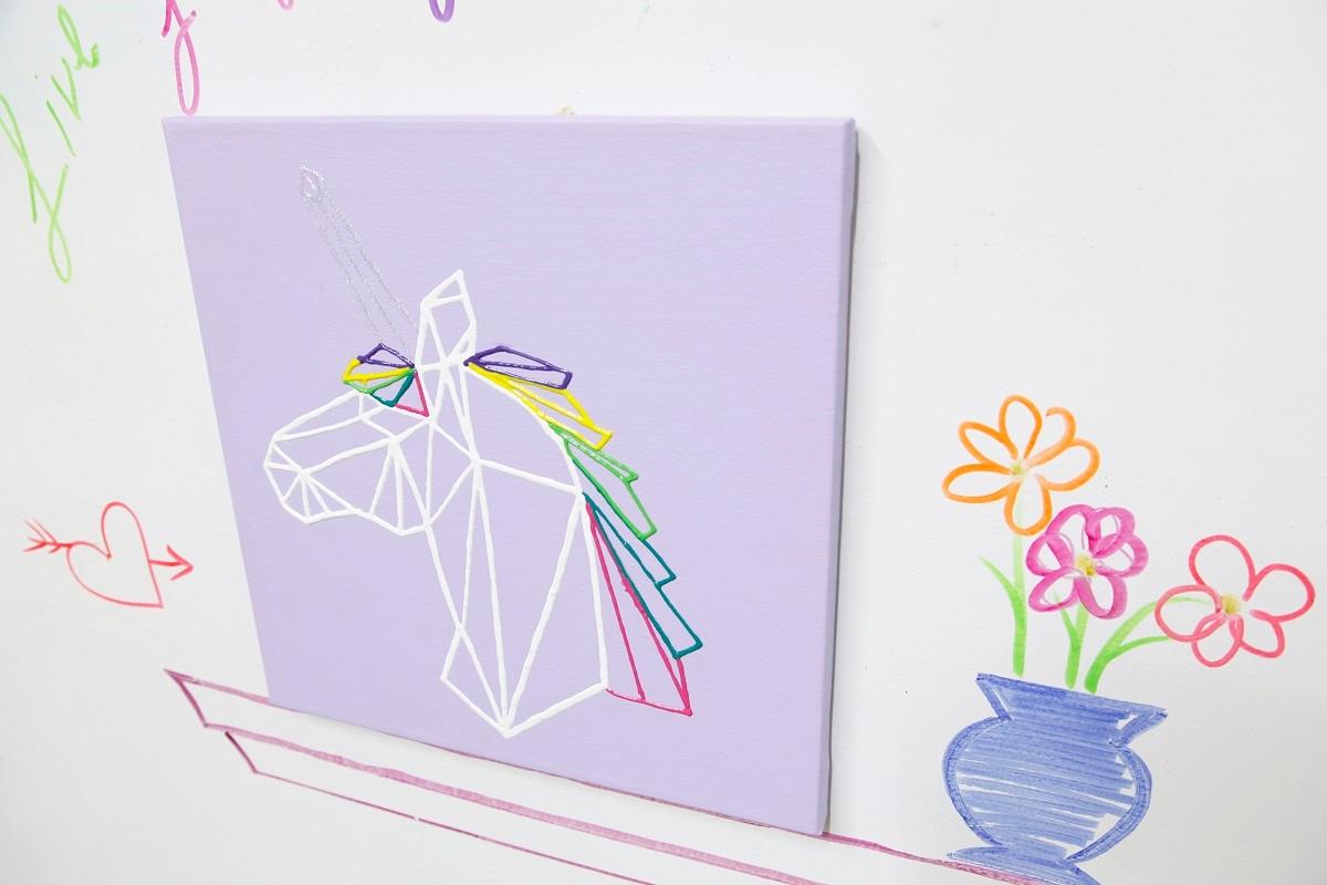 Diy geo unicorn canvas