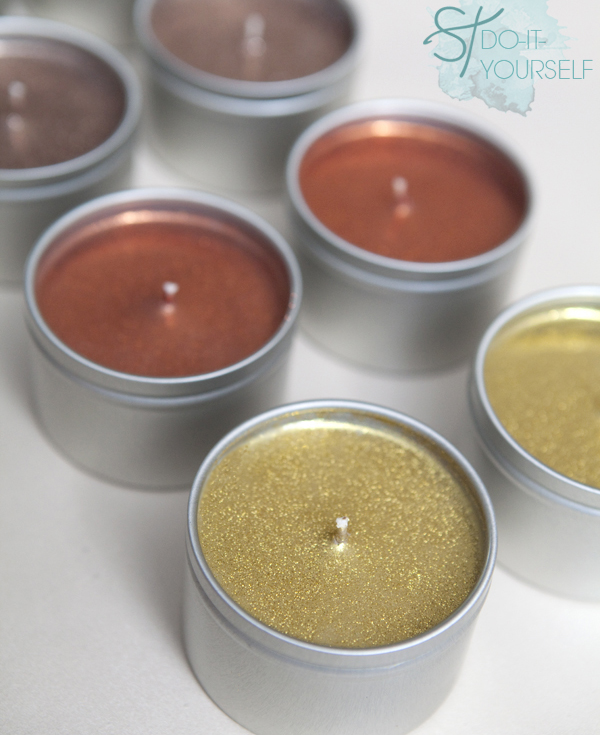 Diy glitter tin candles
