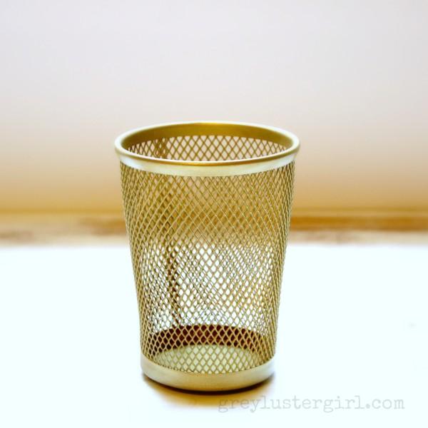 Diy gold pencil cup