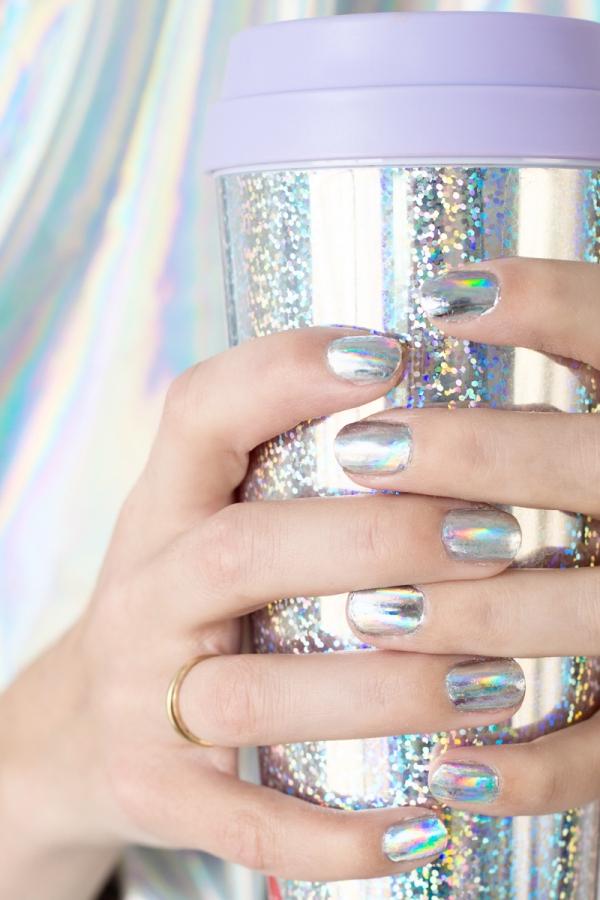 Diy holographic unicorn mani
