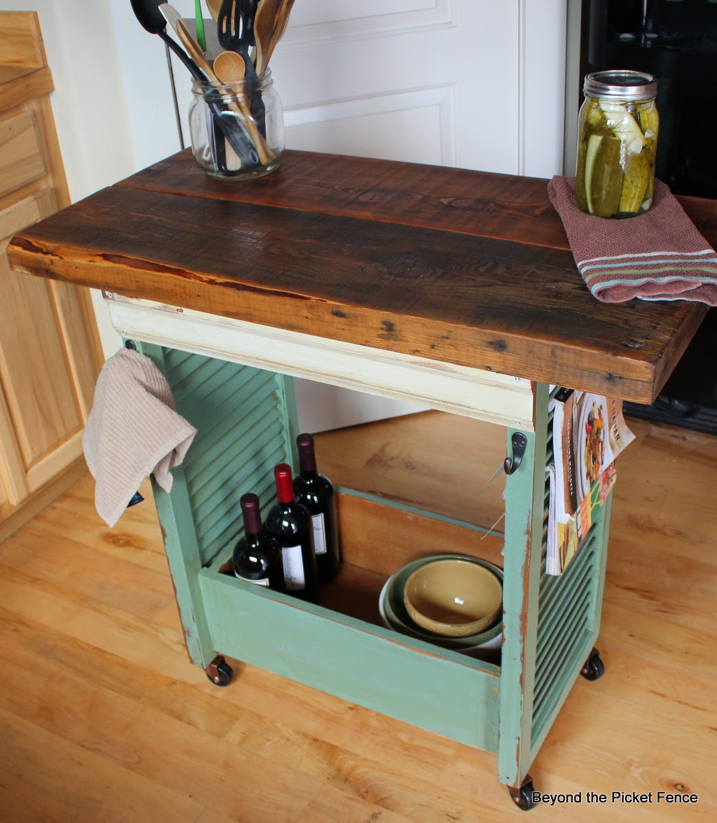 Diy kitchen island from shutters