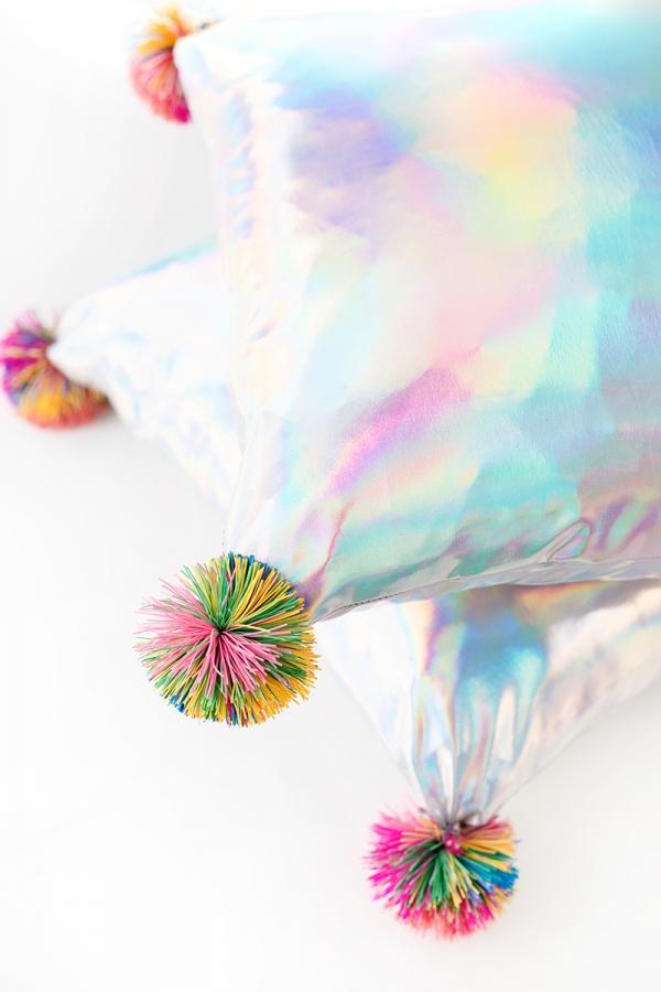 Diy koosh ball unicorn pillows