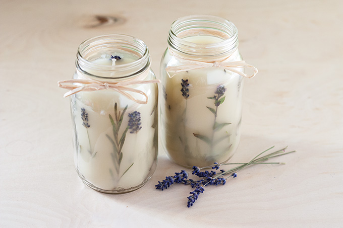 Diy pressed herb candle