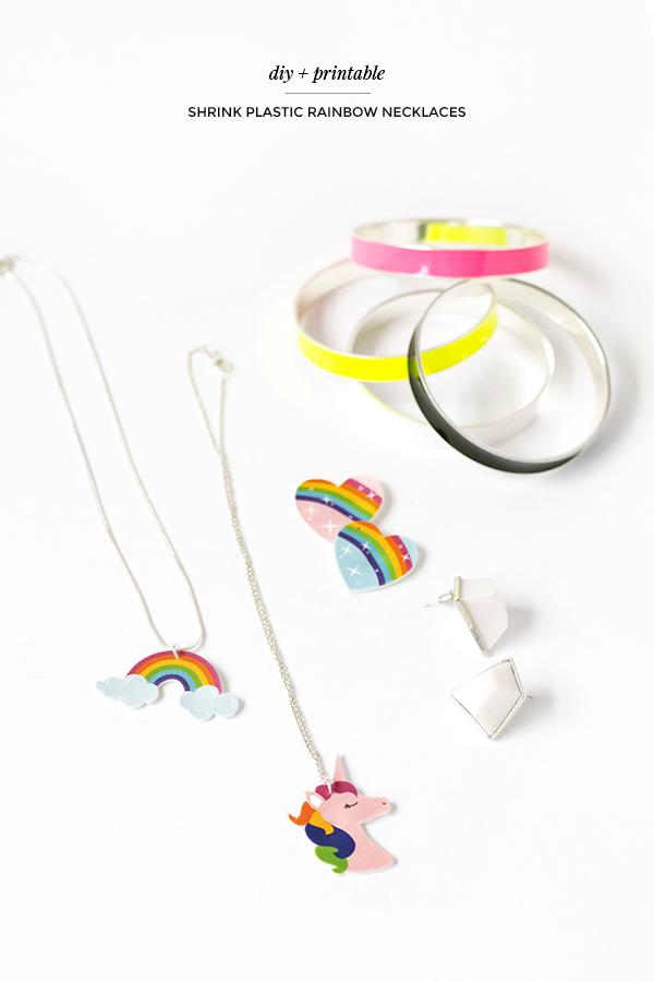 Diy shrink plastic rainbow necklaces