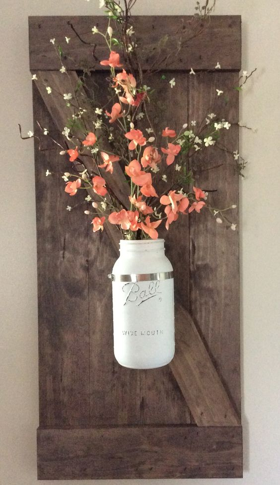 Diy shutter mason jar planter