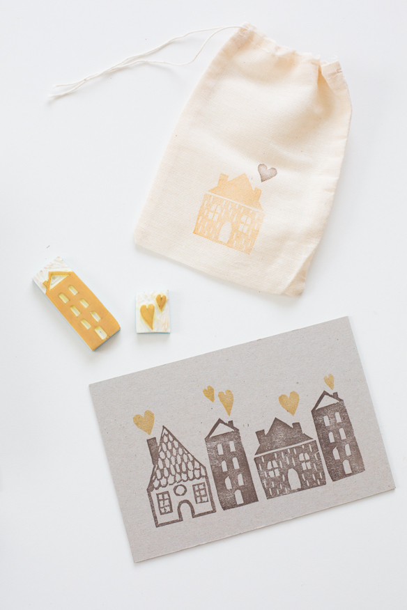 Diy stamp village card