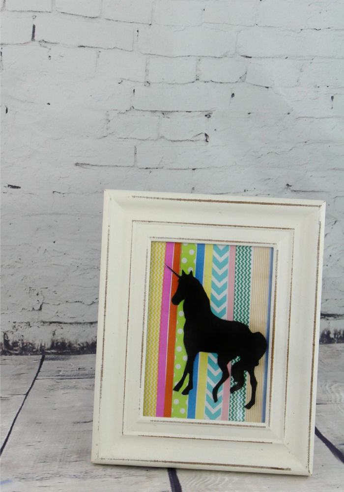 Diy washi tape unicorn silhouette