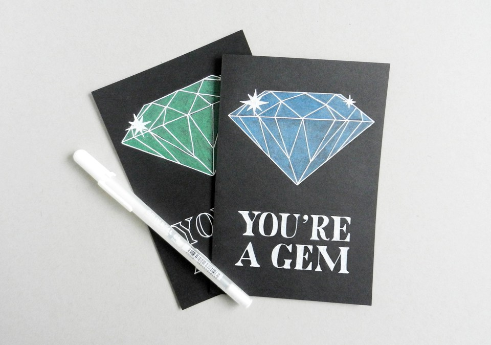 Diy you're a gem black card birthday diy