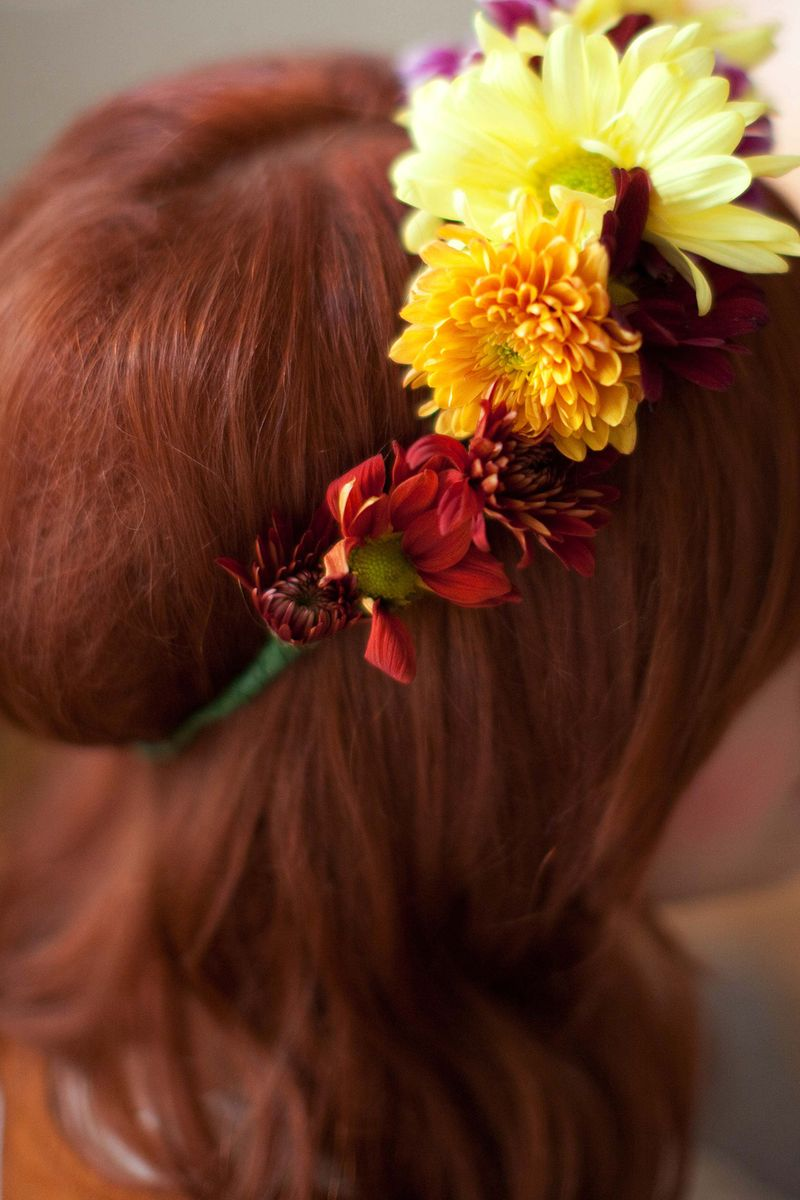 Fall flowers and colors diy flower crown