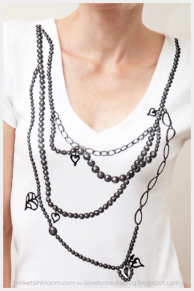 Faux necklace t shirt close up
