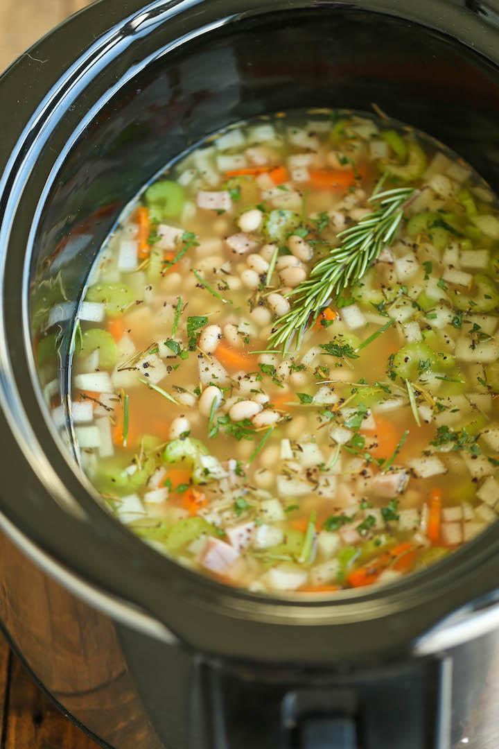 Ham and white bean dump sop