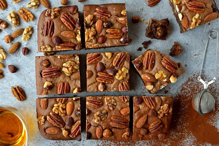 Nutty bourbon brownies - rich, fudgy brownies with crunchy nuts and a boozy kick; just for grown-ups!