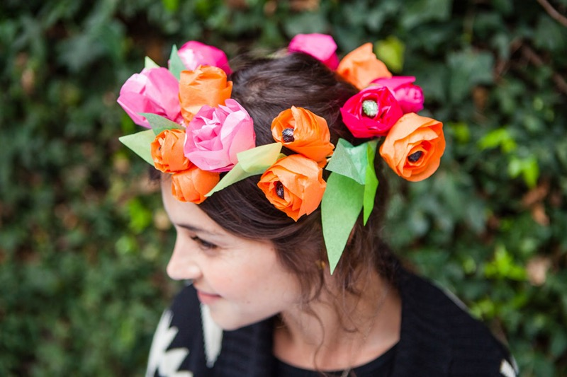 Paper flower crown diy