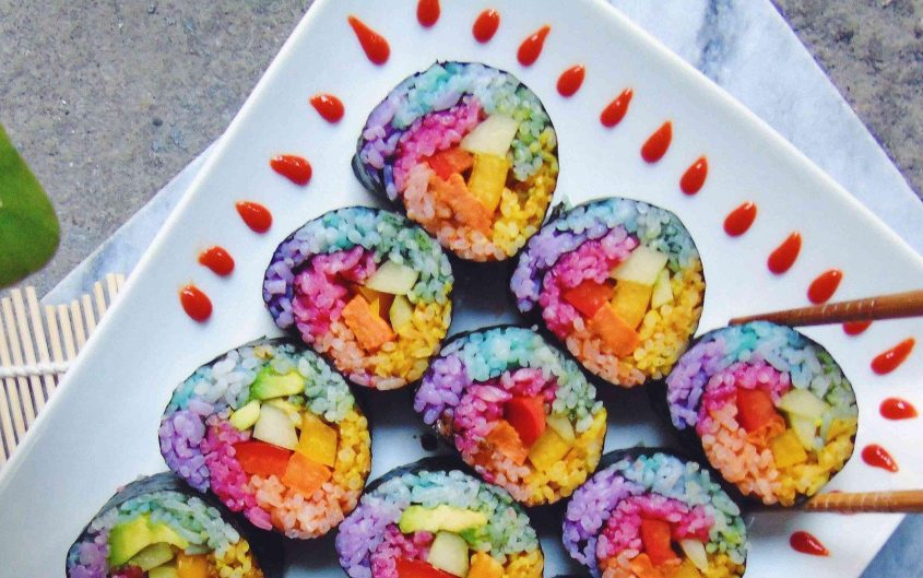 Rainbow unicorn sushi