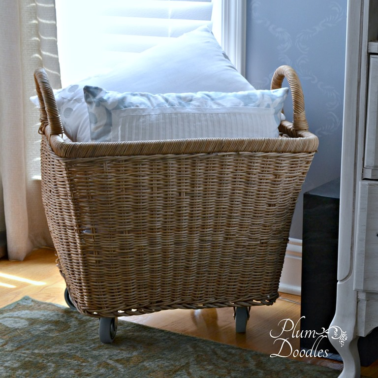 Wicker basket on wheels
