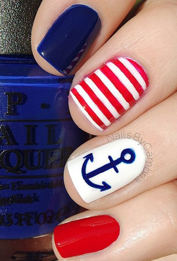 4th of july anchor nail art