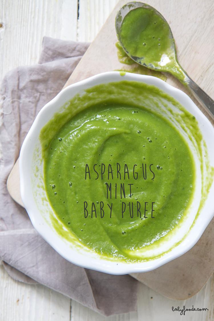 Asparagus mint homemade baby food puree