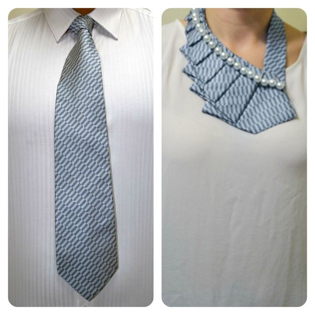 Beaded necktie collar