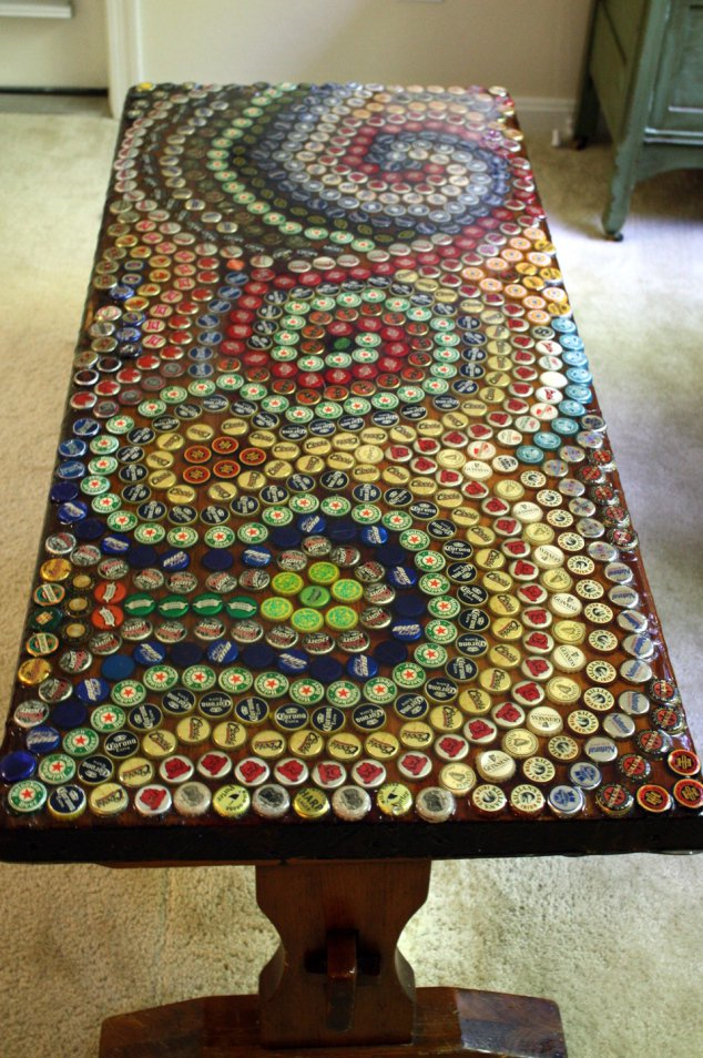 Bottle cap mosaic tabletop