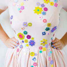 Card flower embellished dress
