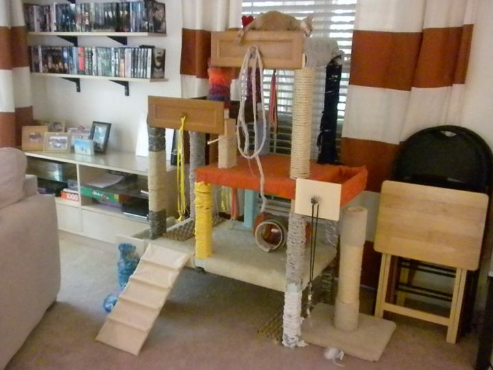 Cat tree made from drawers