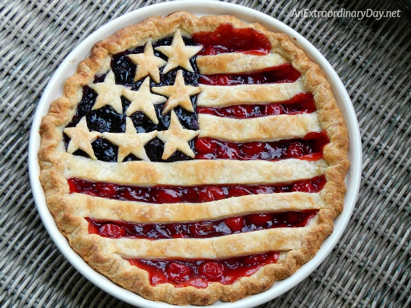 Cherry and blueberry stars and stripes american flag pie anextraordinaryday net