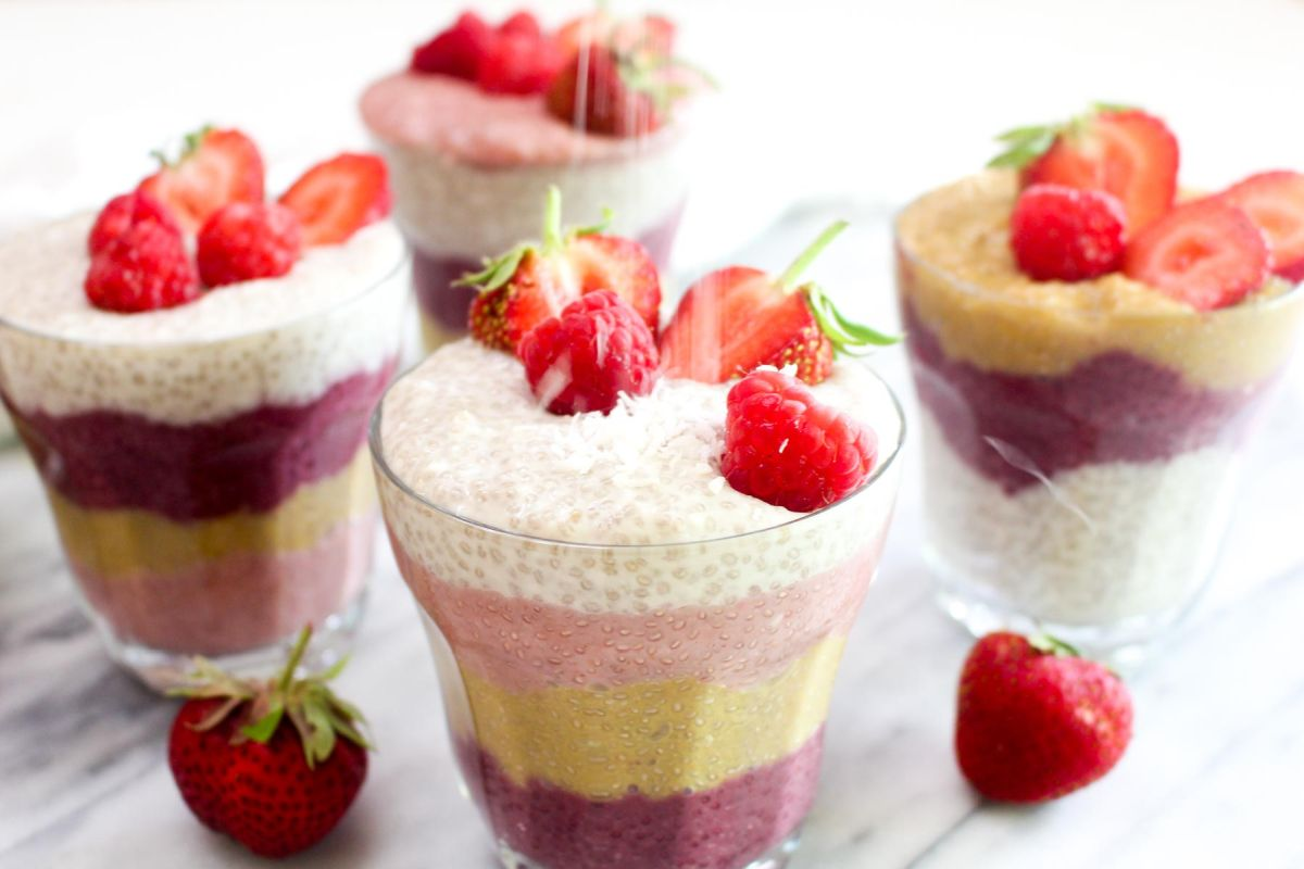 Colorful rainbow chia seed pudding