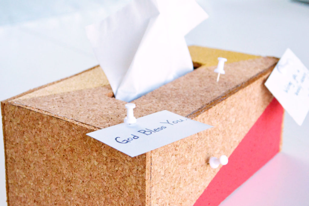 Cork tissue box cover pin