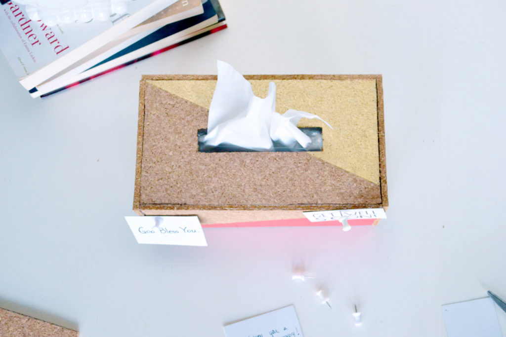 Cork tissue box cover small messages