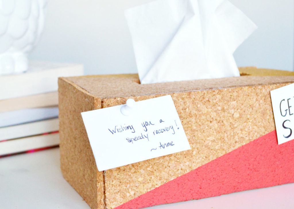 Cork tissue box cover display small messages