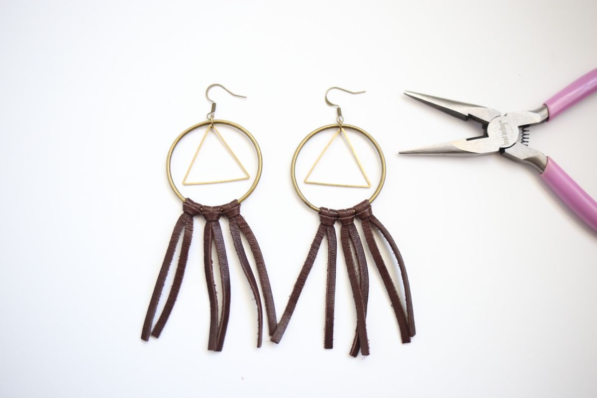 Diy boho leather earrings hanging