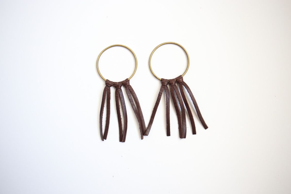 Diy boho leather earrings pieces of leather