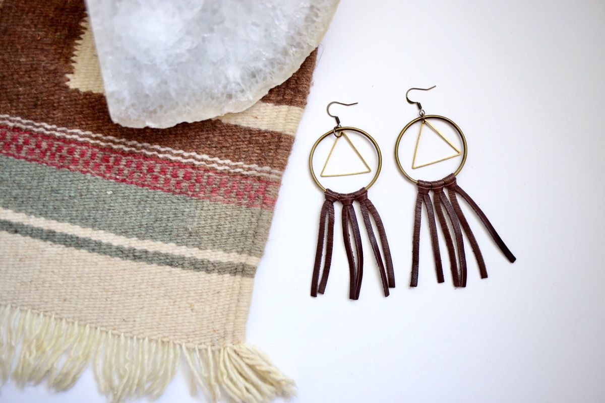 Diy boho leather earrings