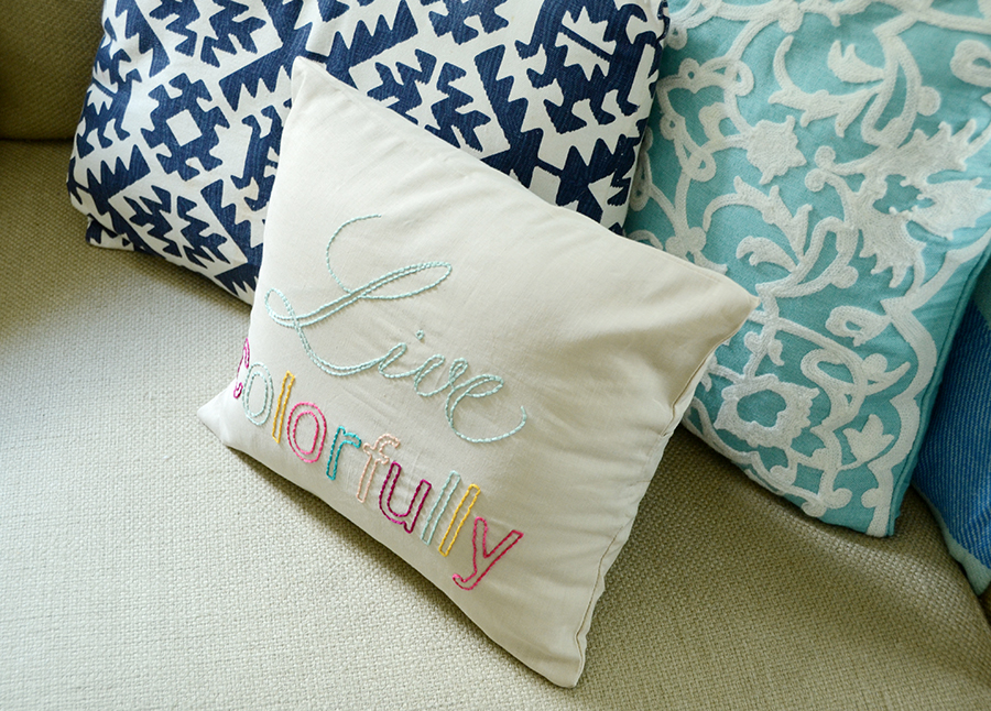 Diy embroidered quote pillow project