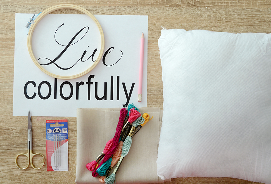 Diy embroidered quote pillow supplies