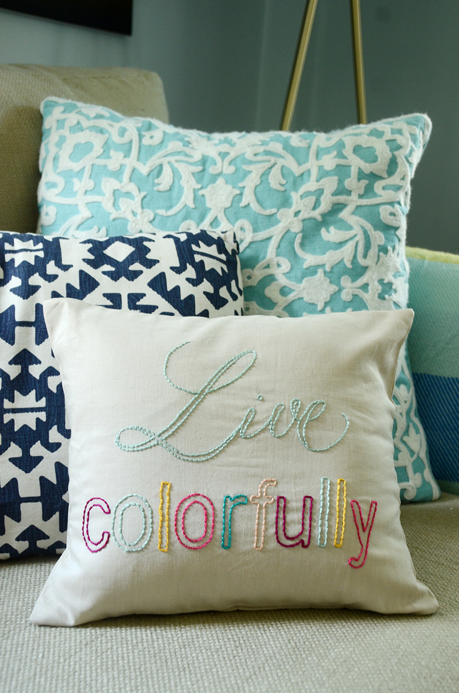 Diy embroidered quote pillow