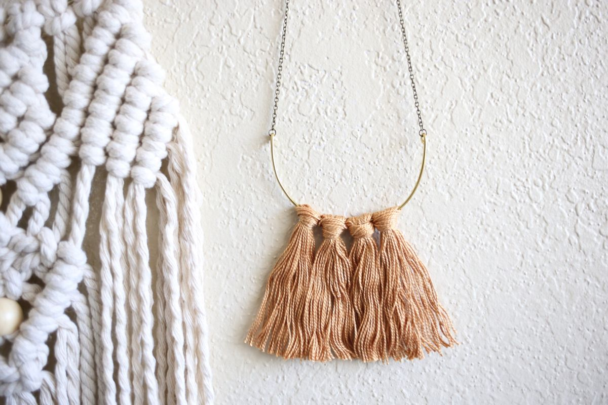 Diy fringe brass necklace craft