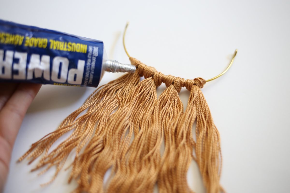 Diy fringe brass necklace glue
