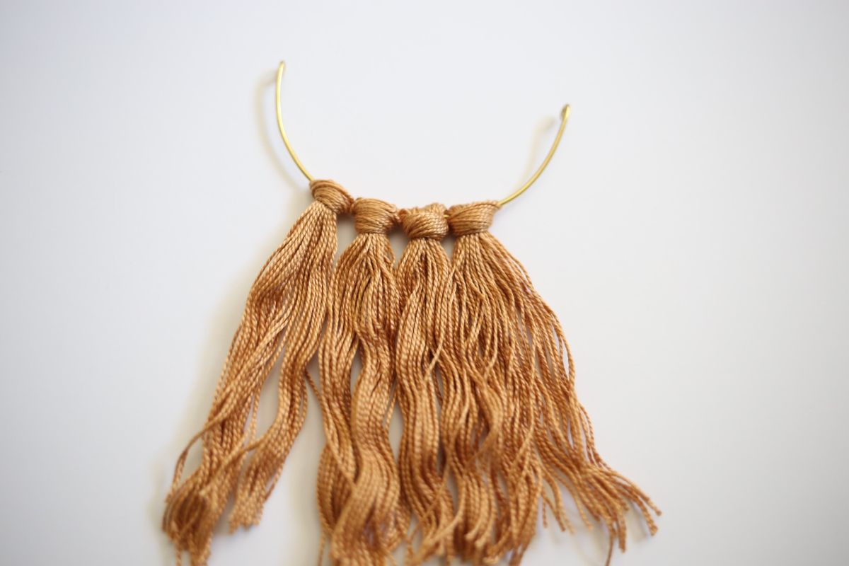 Diy fringe brass necklace trim the ends of the fringe