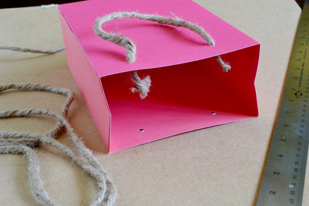 Diy scrapbook paper gift bags rope