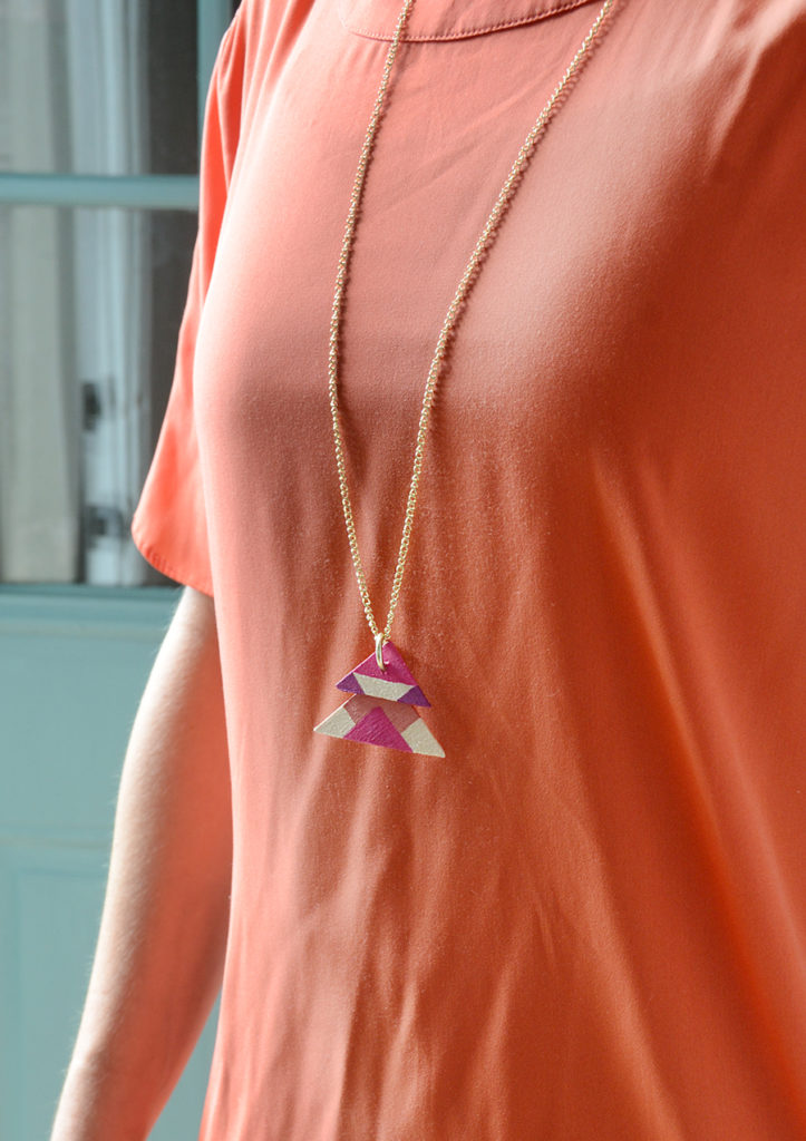 Diy wooden triangle necklace customize