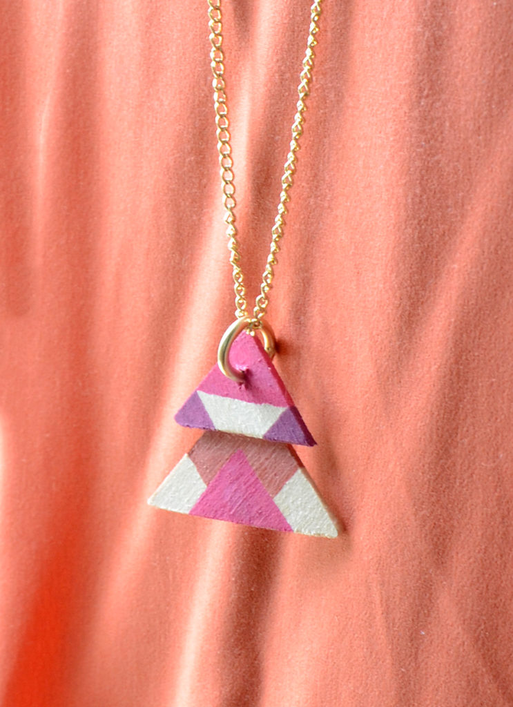 Diy wooden triangle necklace project