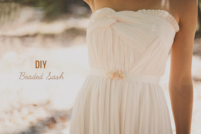 Diy beaded ribbon sash